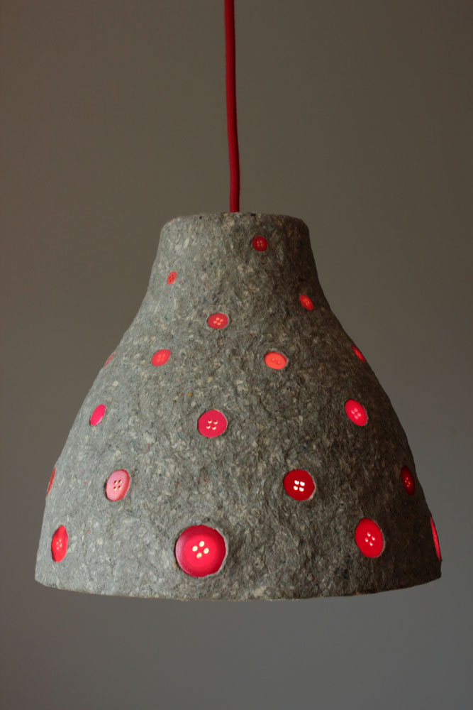 Paper mache pendant light buttons1