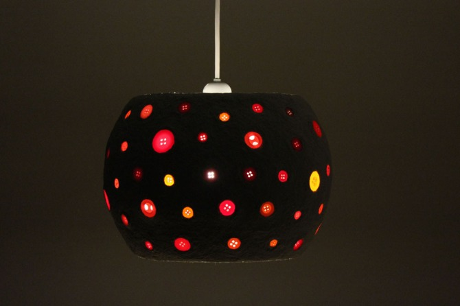 Paper mache pendant light - buttons2 (4)