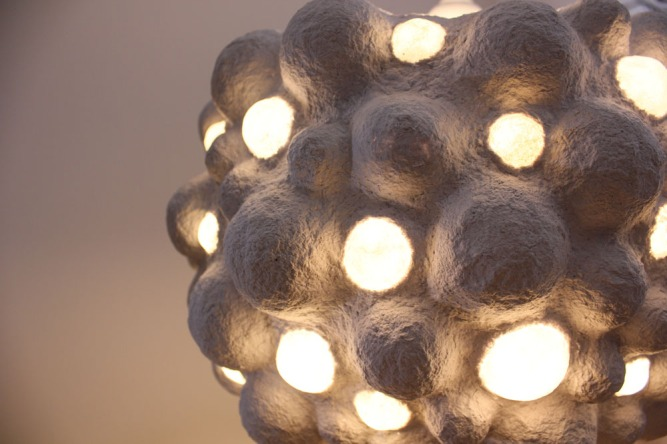 Paper mache pendant light - cloud (1)