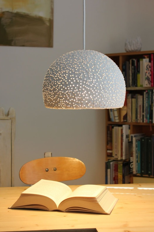 Paper mache pendant light - glassbeads1 (7)