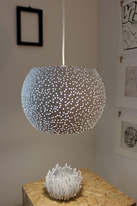 Paper mache pendant light - glassbeads2 (2)