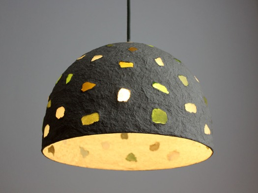 Paper mache pendant light - sea glass1 (3)