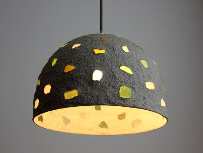 Paper mache pendant light - sea glass1 (3)
