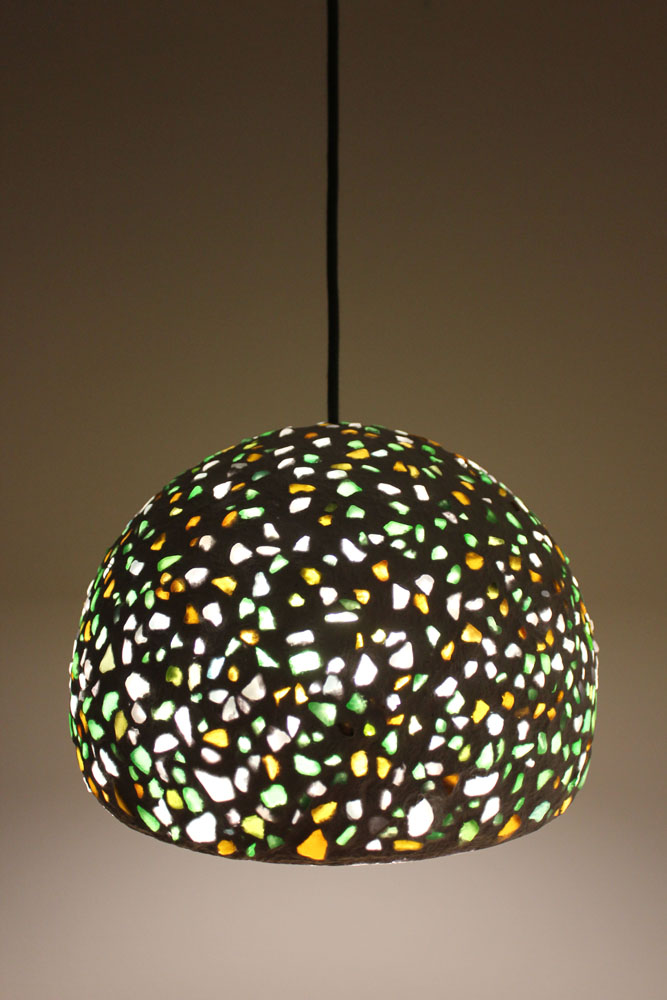 Paper mache pendant light - seaglass2 (2)