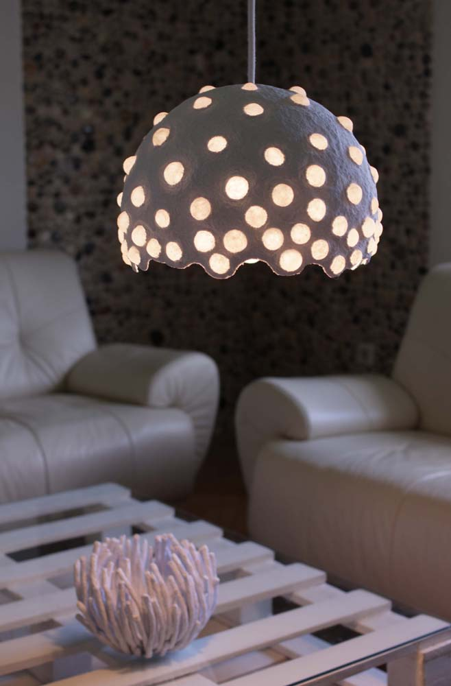 Paper mache pendant light white